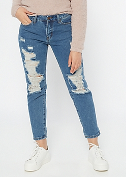 Medium Wash Mid Rise Ripped Mom Jeans