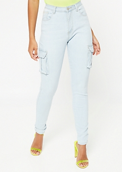 Light Wash High Waisted Cargo Jeggings