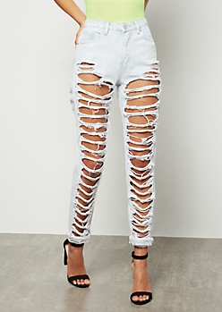 Light Wash High Waisted Shredded Skinny Jeans