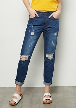 Dark Wash Distressed Rolled Cuff Boyfriend Jeans