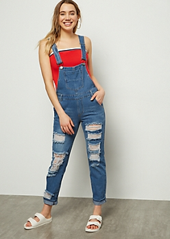 Medium Wash Distressed Boyfriend Jean Overalls