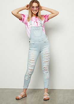 Light Wash Shredded Skinny Jean Overalls