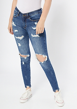 KanCan Dark Wash Distressed Ankle Jeggings