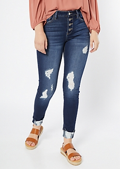 Dark Wash Distressed Button Fly Jeggings