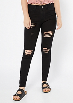 KanCan Black Distressed Mid Rise Jeggings