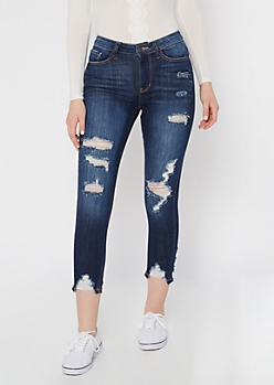 KanCan Dark Wash Distressed Skinny Jeans