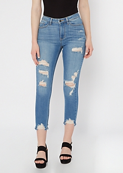 KanCan Medium Wash Distressed Skinny Jeans