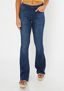 KanCan Dark Wash Mid Rise Flare Jeans