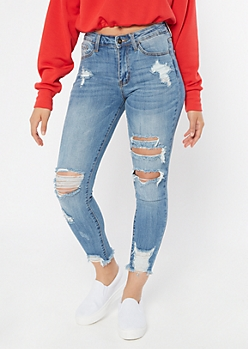 KanCan Medium Wash Mid Rise Distressed Frayed Jeggings