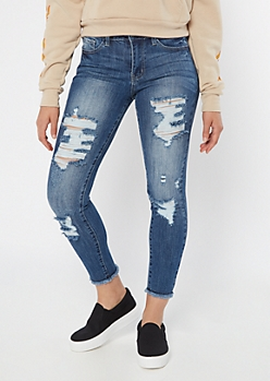 KanCan Dark Wash Distressed Frayed Jeggings