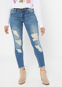 KanCan Medium Wash Distressed Frayed Jeggings