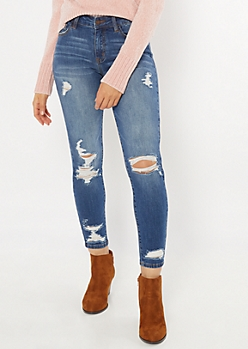 KanCan Medium Wash Distressed Mid Rise Jeggings