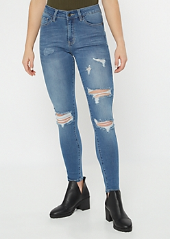 KanCan Medium Wash Lightly Ripped Jeggings