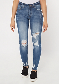 KanCan Medium Wash Ripped High Rise Jeggings