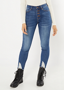 KanCan Button Fly High Waisted Distressed Ankle Jeggings