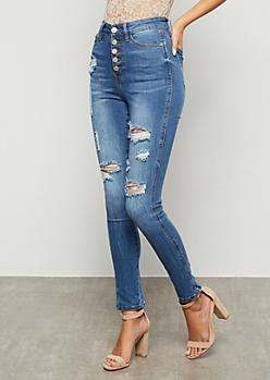 Medium Wash High Waisted Button Front Skinny Jeans