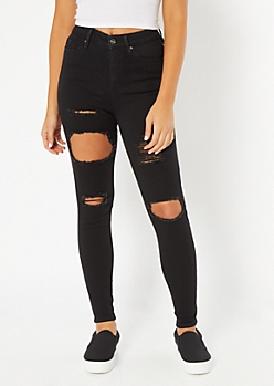 Black Distressed High Waisted Jeggings