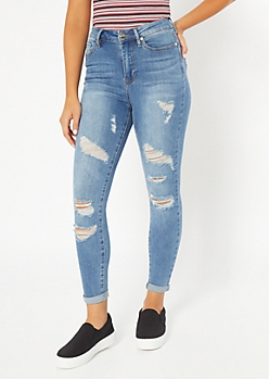 Medium Wash Distressed Rolled High Waisted Jeggings