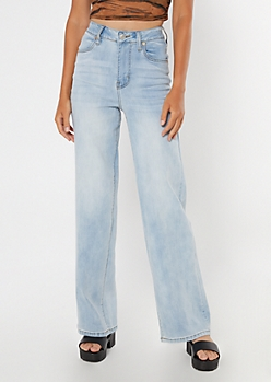 Light Wash Wide Leg Dad Jeans