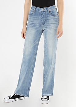 Medium Wash Wide Leg Dad Jeans