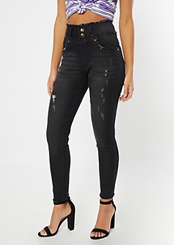 Black Frayed Button Down High Rise Skinny Jeans