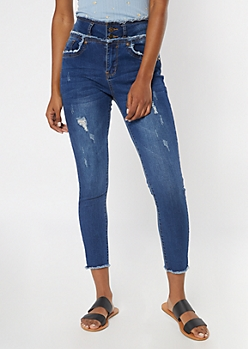 Medium Wash Frayed Button Down High Rise Skinny Jeans