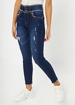 Dark Wash Frayed Button Down High Rise Skinny Jeans