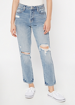 Medium Wash Blown Knee Button Down Mom Jeans