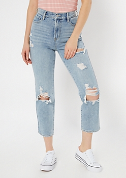 Light Wash Blown Knee Straight Leg Jeans