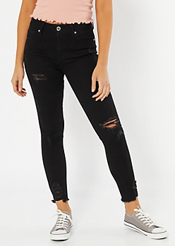 Black Mid Rise Ankle Curvy Skinny Jeans