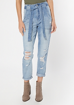 Light Wash Distressed Paperbag Waist Mom Jeans