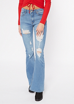 Medium Wash Ripped Recycled Flare Jeans