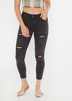 Washed Black Mid Rise Ripped Jeggings