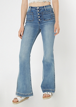 Medium Wash Super High Waisted Wide Flare Jeans