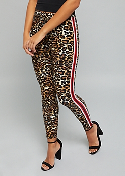 Leopard Print Side Striped Mid Rise Leggings