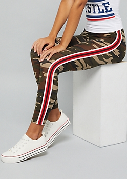 Camo Print Red Side Striped Super Soft Mid Rise Leggings