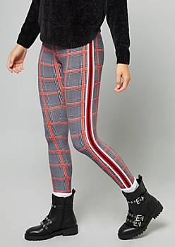 Black Plaid Pattern Side Striped Mid Rise Leggings