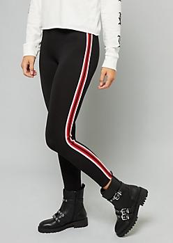 Black Side Striped Mid Rise Leggings