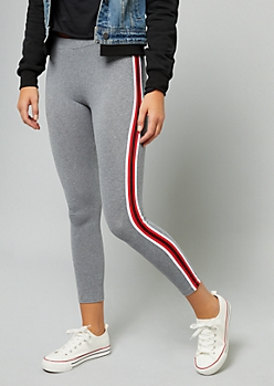 Heather Gray Side Striped Mid Rise Leggings