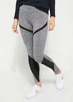 Heather Gray Active Mesh Insert Leggings