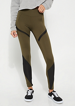 Olive Active Mesh Insert Leggings