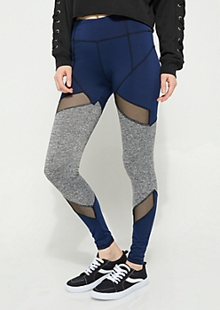 Gray & Navy Spacedye Mesh Insert Leggings