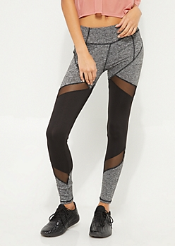 Gray & Black Spacedye Mesh Insert Leggings