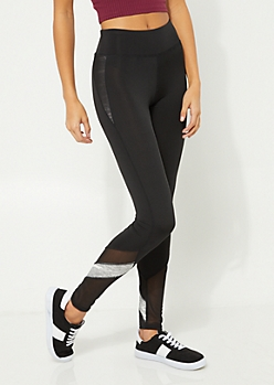 Black Stretch Heather Gray Stripe Mesh Leggings