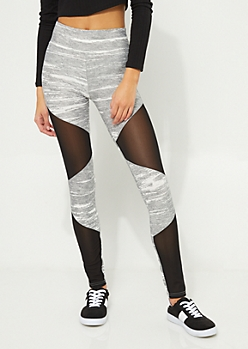 Gray & White Colorblock Mesh High Rise Leggings
