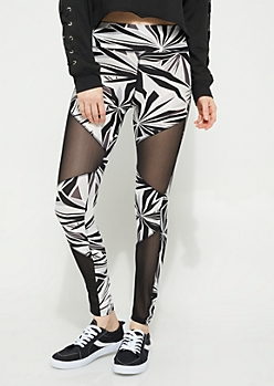 Black & White Mesh Insert Leggings