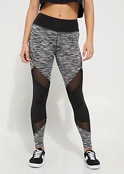 Black & White Spacedye Mesh Insert Legging