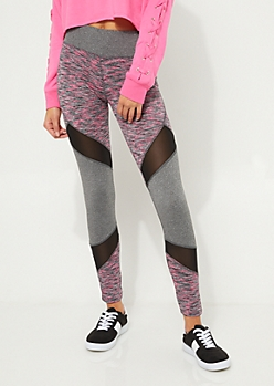 Gray & Pink Colorblock Mesh High Rise Leggings