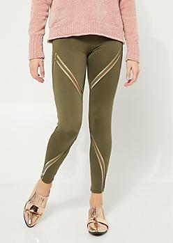 Olive Mesh Chevron Patterned Leggings