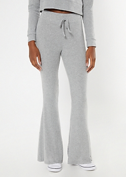 Heather Gray Ribbed Super Soft Hacci Flare Pants